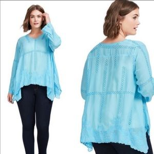 Johnny was blue tunic embroidered boho top small